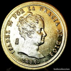 Medaglie tematiches: ⚜️ A2322. BAÑO ORO 24KT. 80 REALES 1836. MAD. ISABEL II. MEDALLA FNMT ED. LIMITADA. 14,9G / 33MM. Lote 267638884