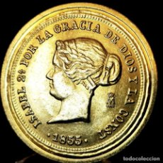 Medaglie tematiches: ⚜️ A2314. BAÑO ORO 24KT. 100 REALES 1855. ISABEL II. MEDALLA FNMT ED. LIMITADA. 14,9G / 33MM. Lote 267639754