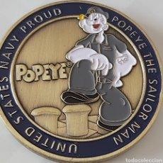 Medallas temáticas: EXCLUSIVA MONEDA DE COLECCION EDICION LIMITADA DEL QUERIDO PERSONAJE DE POPEYE. Lote 269939338