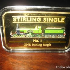 Medallas temáticas: LINGOTE ORO LAMINADO. TREN FERROCARRIL STIRLING SINGLE Nº 1 GNR. Lote 292408178