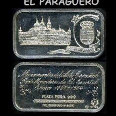 Medallas temáticas: LINGOTE DE PLATA MACIZA Y PURA EDICION LIMITADA Y NUMERADA HOMENAJE AL MONASTERIO DEL ESCORIAL-Nº24. Lote 293690638