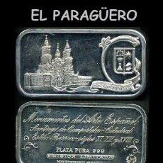 Medallas temáticas: LINGOTE DE PLATA MACIZA Y PURA EDICION LIMITADA Y NUMERADA HOMENAJE CATEDRAL SANTIAGO DE COMPOSTELA. Lote 293690883