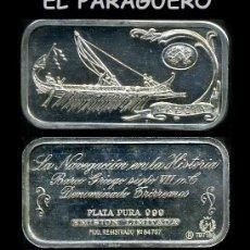 Medallas temáticas: LINGOTE DE PLATA MACIZA Y PURA EDICION LIMITADA Y NUMERADA HOMENAJE AL BARCO GRIEGO-Nº53. Lote 293843658
