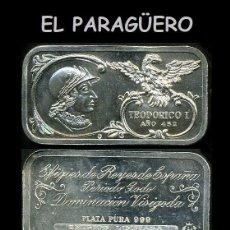 Medallas temáticas: LINGOTE DE PLATA MACIZA EDICION LIMITADA HOMENAJE AL REY ESPAÑOL VISIGODO TEODORICO I AÑO 452 -Nº70. Lote 293970748