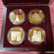 Medallas temáticas: ESTUCHE CON 4 MEDALLAS MONUMENTOS DE PARIS. Lote 295746588
