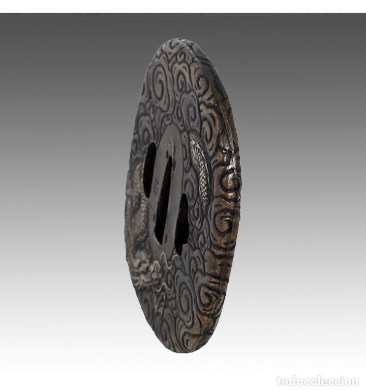 Militaria: Tsuba de katana en bronce dragón en Bronce a la cera perdida - Foto 2 - 101017223