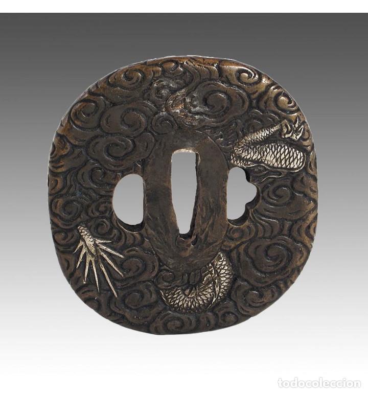 Militaria: Tsuba de katana en bronce dragón en Bronce a la cera perdida - Foto 3 - 101017223