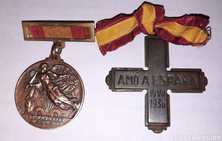 DOS MEDALLAS INSIGNIAS GUERRA CIVIL (MALLORCA) (Militar - Complementos Para Armas Blancas)