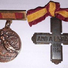 Militaria: DOS MEDALLAS INSIGNIAS GUERRA CIVIL (MALLORCA). Lote 229773515