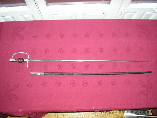 TRASMIERA ESPADIN HOJA FIRMADA POR PEDRO DEL MONTE EN TOLEDO ESPAÑOL. (Militar - Armas Blancas Originales de Fabricación Anterior a 1850)