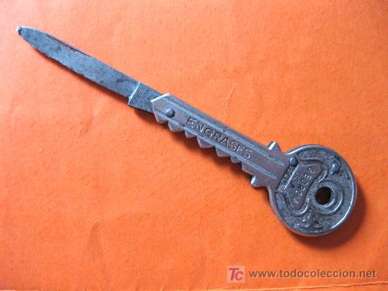 NAVAJA PUBLICITARIA CON FORMA DE LLAVE. AÑOS 40 (Militar - Armas Blancas Originales Fabricadas entre 1851 y 1945)