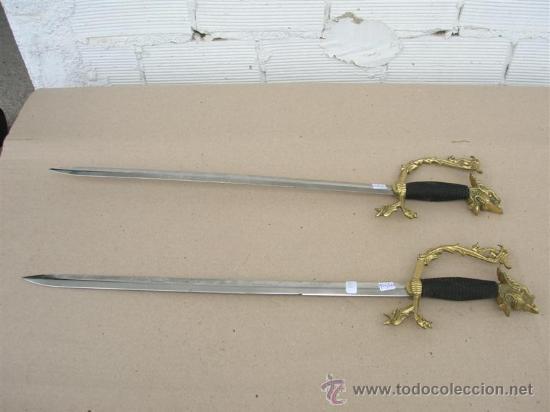 2 ESPADAS MANGO BRONCE (Militar - Armas Blancas Originales de Fabricación Posterior a 1945)