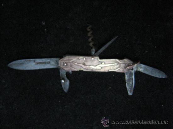 Militaria: antigua navaja multiuso empuñadura bronce con nadadora y barca años 20 ver fotos es la misma - Foto 3 - 28118115