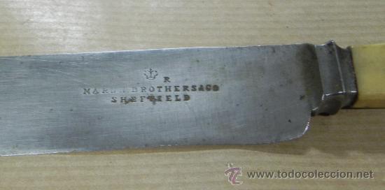 Militaria: Antiguo Cuchillo MARSH BROTHERS & CO, SHEFFIELD, V R, old knife, el cuchillo esta sin limpiar, mang - Foto 3 - 33507564