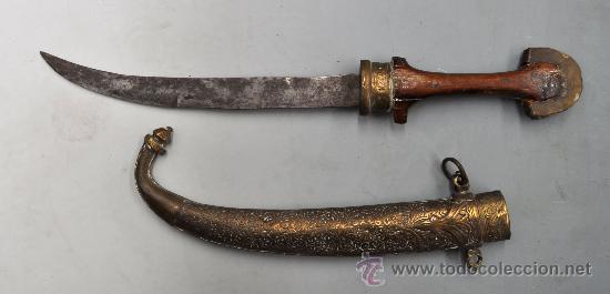 GUMIA ARGELINA O ARABE CON SU VAINA ORIGINAL (Militar - Armas Blancas Originales de Fabricación Anterior a 1850)