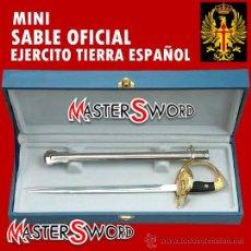 Militaria: MINI SABLE OFICIAL EJERCITO DE TIERRA ESPAÑOL + ESTUCHE. 28 CMS. Lote 37111354