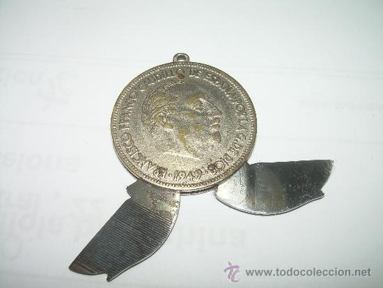 ANTIGUA NAVAJA FABRICADA CON UNA MONEDA DE UN DURO DE FRANCO....FABRICANTE...PAYA - IBI (ALICANTE). (Militar - Armas Blancas Originales Fabricadas entre 1851 y 1945)