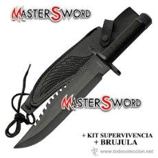 Militaria: CUCHILLO SUPERVIVENCIA + FUNDA + KIT + BRUJULA. 35 CMS. Lote 111158335
