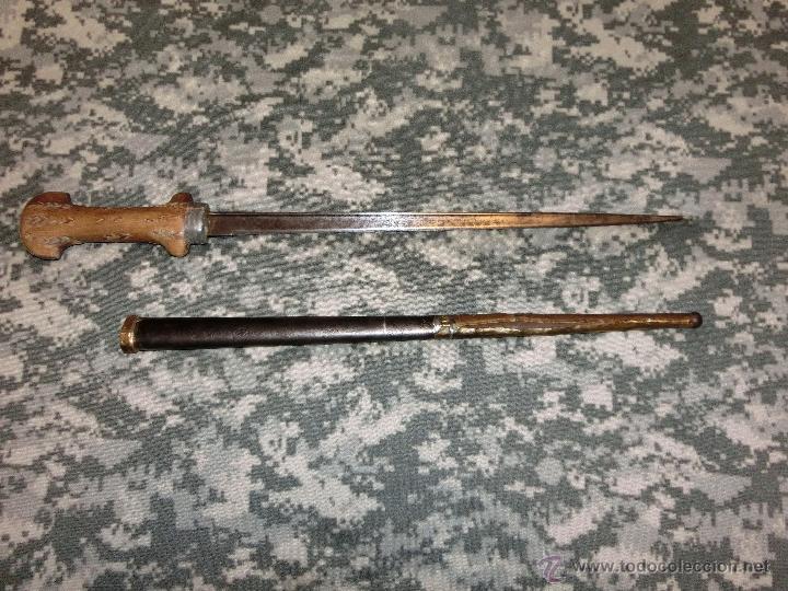 Militaria: cuchillo de la guerra de marruecos fabricado con la hoja y vaina de una bayoneta grass - Foto 5 - 40894457