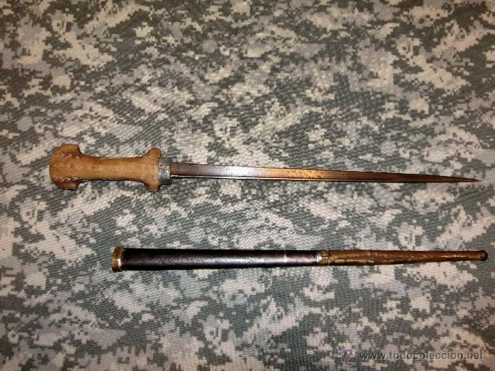 Militaria: cuchillo de la guerra de marruecos fabricado con la hoja y vaina de una bayoneta grass - Foto 6 - 40894457