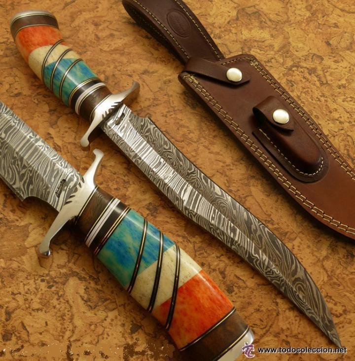 Cuchillo de monte de acero de damasco de la col comprar armas blancas antiguas originales - Cuchillo de cocina acero damasco ...