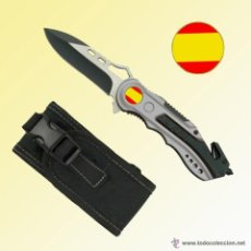 Militaria: NAVAJA TACTICA BANDERA ESPAÑA, GRIS HOJA 6,5 CM CUTTER ROMPEVIDRIOS CAZA CAMPING. Lote 51492493