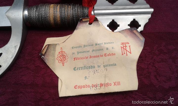 ESPADA DEL SIGLO XIII,EMPRESA NACIONAL SANTA BÁRBARA DE INDUSTRIAS MILITARES,S.A.,FÁBRICA DE TOLEDO (Militar - Armas Blancas Originales de Fabricación Posterior a 1945)