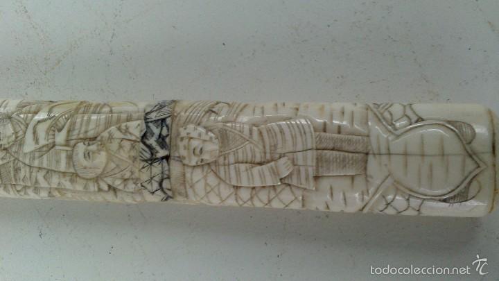 Militaria: antigua y pequeña katana , tanto , daga japonesa marfil , hueso ?¿ tallada - Foto 11 - 56871314