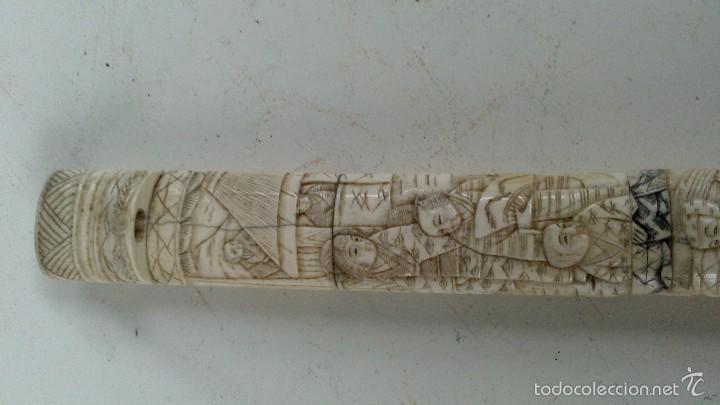 Militaria: antigua y pequeña katana , tanto , daga japonesa marfil , hueso ?¿ tallada - Foto 12 - 56871314