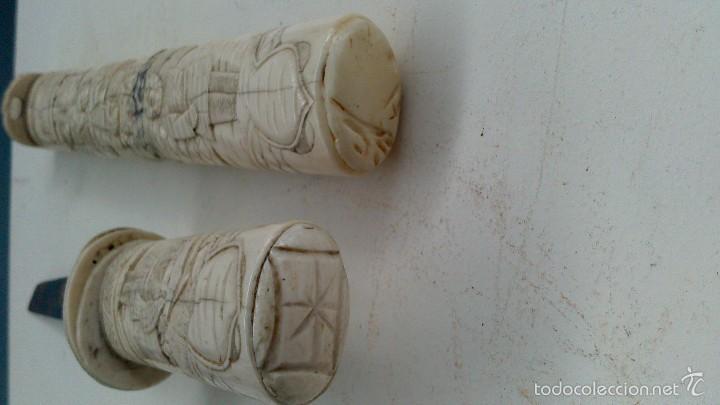 Militaria: antigua y pequeña katana , tanto , daga japonesa marfil , hueso ?¿ tallada - Foto 16 - 56871314