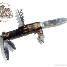 Militaria: NAVAJA MULTIUSOS - EN ACERO ALTA CALIDAD Y ASTA - 21 CM DE LARGA. Lote 59027045