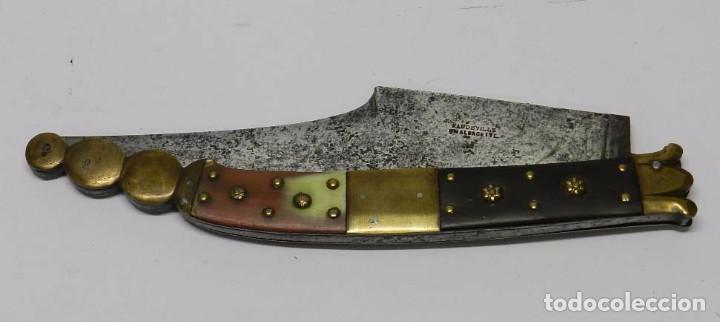 Militaria: Antigua navaja Siglo XIX. Con punzón de HAUDEVILLE EN ALBACETE. Mide cerrada 23 cm y abierta 42,5 cm - Foto 3 - 68196525