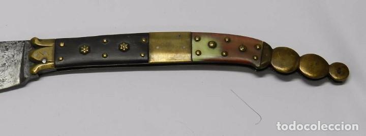 Militaria: Antigua navaja Siglo XIX. Con punzón de HAUDEVILLE EN ALBACETE. Mide cerrada 23 cm y abierta 42,5 cm - Foto 6 - 68196525