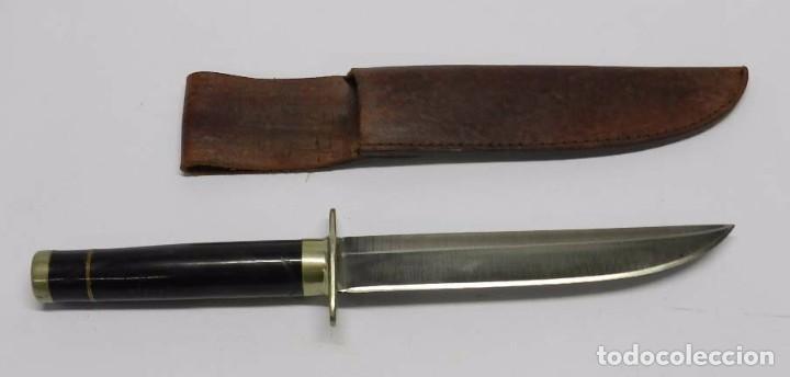 CUCHILLO DE CAZA DE GRAN CALIDAD, CON MANGO DE ASTA, GRAN TAMAÑO, MARCA MONTANA AMERICANA, MIDE 29 C (Militar - Armas Blancas Originales Fabricadas entre 1851 y 1945)