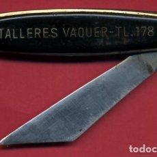 Militaria: NAVAJA PUBLICIDAD TALLERES VAQUER , ORIGINAL , A10. Lote 85059064