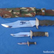 Militaria: CUCHILLO CANGURO TRIPLE GRABADO INOX ALBACETE CON ESCENA DE CAZA. Lote 86439168