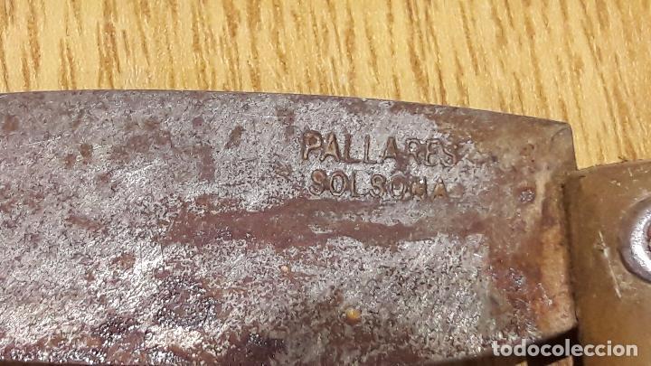 Militaria: ANTIGUA NAVAJA PALLARÉS - SOLSONA. 19 CM. LARGO / CONTRASTE EN HOJA. - Foto 2 - 94368310