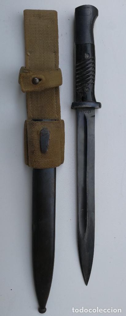 BAYONETA ALEMANA PARA MAUSER KAR 98K - CON SU FUNDA Y TAHALI DEL AFRIKA KORPS - 1941 - CLEMENT JUNG (Militar - Armas Blancas Originales Fabricadas entre 1851 y 1945)