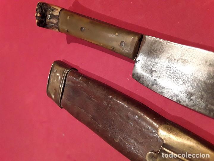 CUCHILLO CAZA MANGO ASTA Y HUESO FINALES S.XIX (Militar - Armas Blancas Originales Fabricadas entre 1851 y 1945)