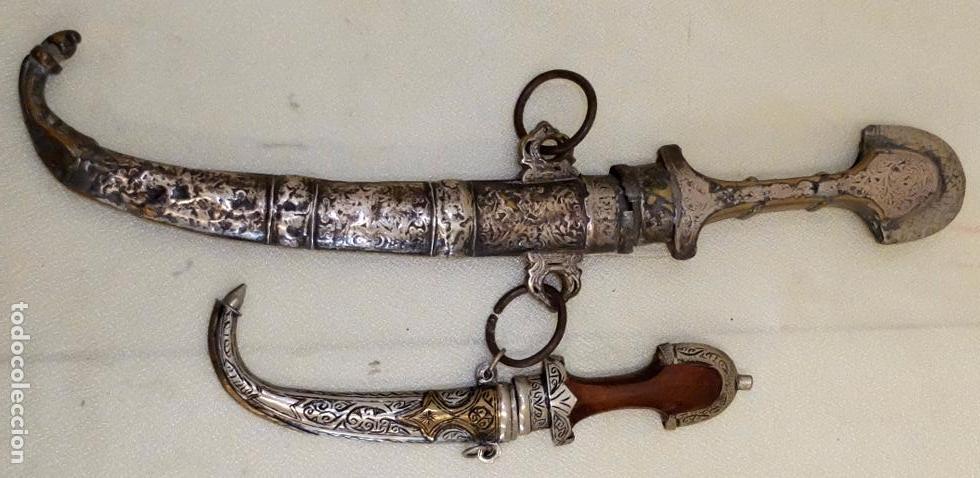 PAREJA DE GUMIAS CON SU VAINA ORIGINAL DEL SIGLO XIX (Militar - Armas Blancas Originales Fabricadas entre 1851 y 1945)