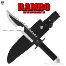 Militaria: CUCHILLO RAMBO II SYLVESTER STALLONE + FUNDA + KIT + BRUJULA. 39 CMS. Lote 194264681