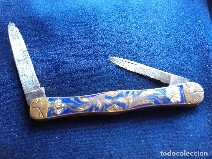 NAVAJA FRANCESA ESMALTADA SIGLO XIX (Militar - Armas Blancas Originales Fabricadas entre 1851 y 1945)