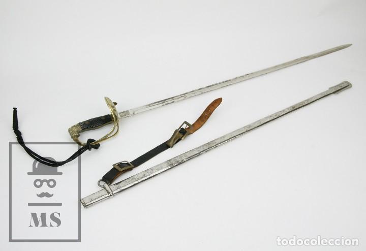 SABLE OFICIAL DEL EJÉRCITO DE TIERRA ESPAÑOL - FÁBRICA DE TOLEDO - VAINA ORIGINAL - AÑOS 40-50 (Militar - Armas Blancas Originales de Fabricación Posterior a 1945)