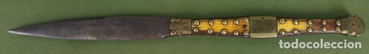NAVAJA BANDOLERA. HOJA DE ACERO. EMPUÑADURA DE ASTA DE RES. SIGLO XVIII-XIX. (Militar - Armas Blancas Originales de Fabricación Anterior a 1850)