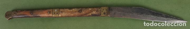 NAVAJA BANDOLERA. HOJA DE ACERO. EMPUÑADURA DE HUESO Y CAREY. SIGLO XVIII-XIX. (Militar - Armas Blancas Originales de Fabricación Anterior a 1850)