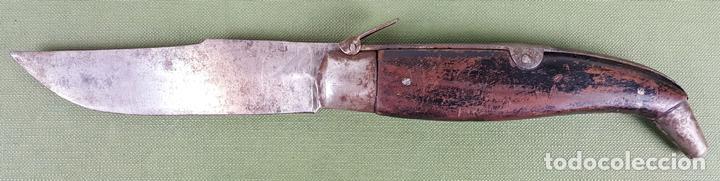 NAVAJA ALBACETEÑA. HOJA DE ACERO FORJADO. EMPUÑADURA DE MADERA. SIGLO XIX. (Militar - Armas Blancas Originales Fabricadas entre 1851 y 1945)