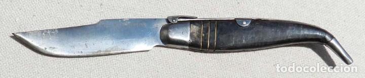 NAVAJA DE SANTA CRUZ DE MUDELA (CIUDAD REAL) REALIZADA POR BUSTOS, ASTA DE TORO, MIDE ABIERTA 25 CMS (Militar - Armas Blancas Originales Fabricadas entre 1851 y 1945)