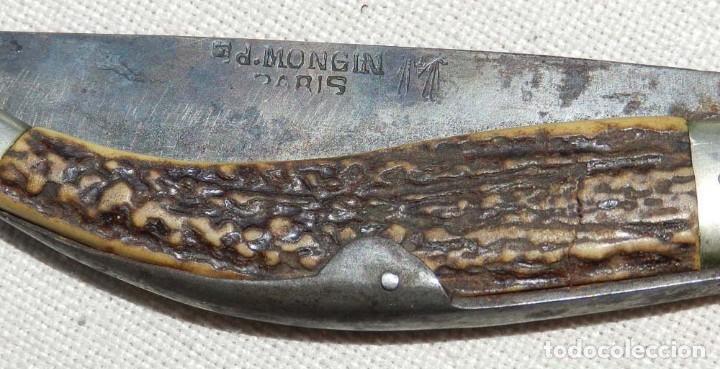Militaria: Antigua navaja Ed. Mongin, París, comienzos del s. XX, original. Mide 24 cms. abierta.Magnífico esta - Foto 4 - 127821155