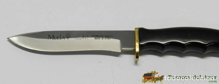 Militaria: Cuchillo Muela Bowie, Molibdeno Vanadio Spain, con Funda de Cuero, cuchillo de caza, GRABADO EN LA H - Foto 2 - 133278382