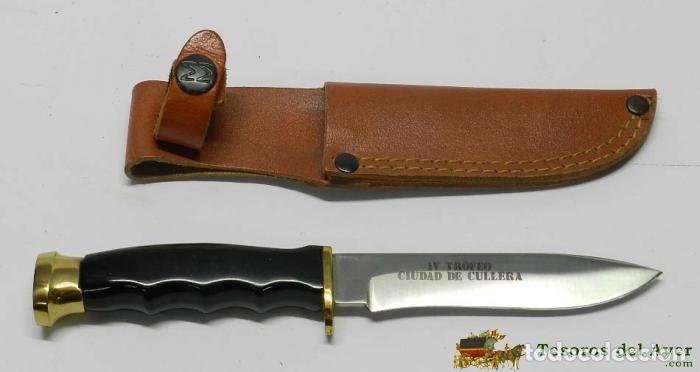 Militaria: Cuchillo Muela Bowie, Molibdeno Vanadio Spain, con Funda de Cuero, cuchillo de caza, GRABADO EN LA H - Foto 3 - 133278382